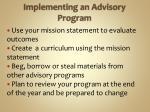 implementing an advisory program