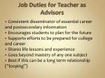 job duties for teacher as advisors