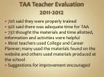 taa teacher evaluation 2011 2012