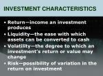 investment characteristics