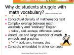 why do students struggle with math vocabulary barton heidema 2002
