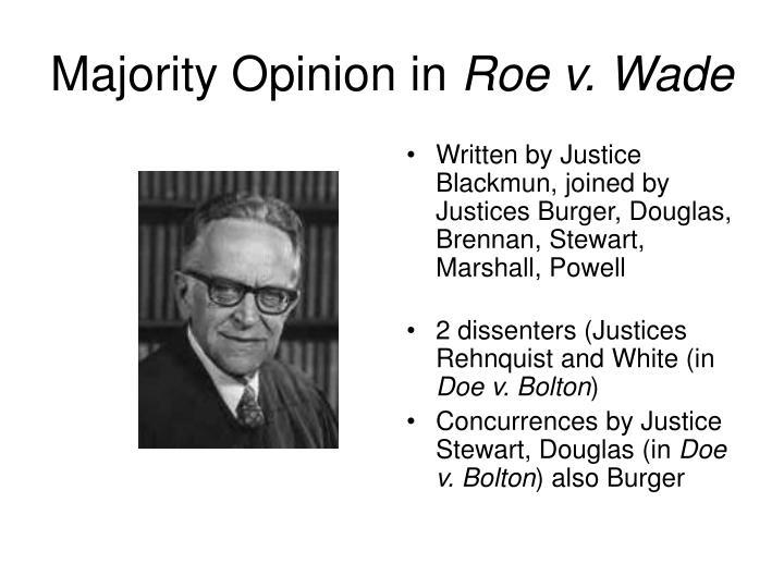 Majority opinion in roe v wade