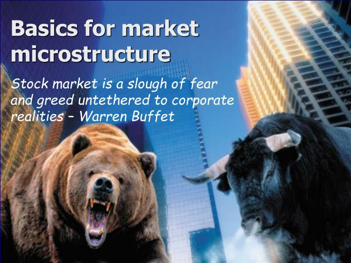 basics for market microstructure n.