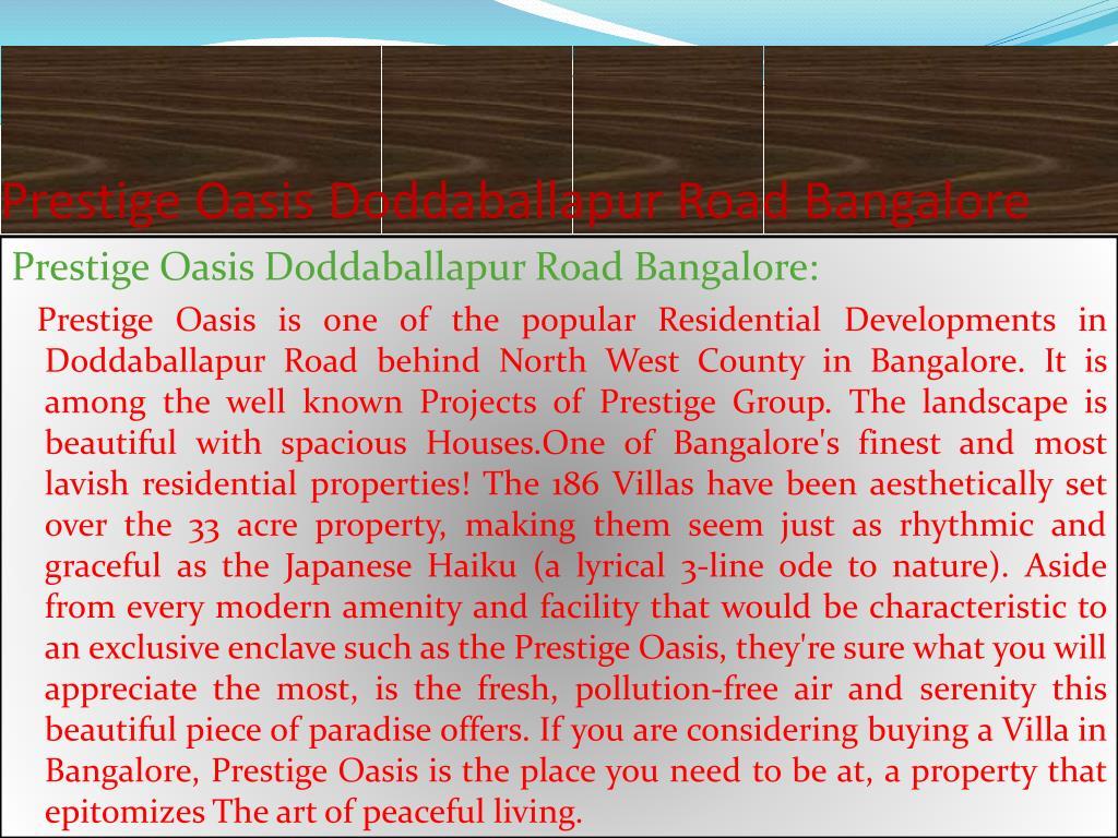 Prestige Oasis