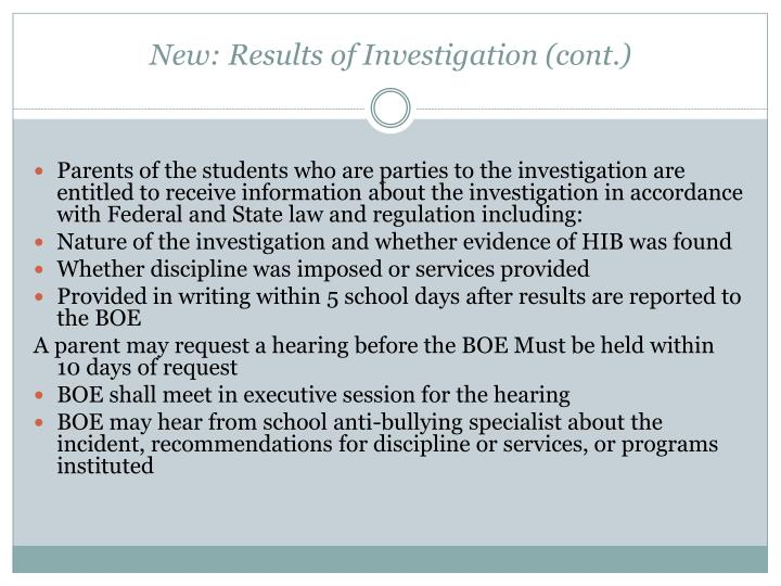 New: Results of Investigation (cont.)