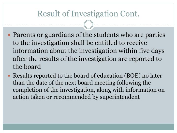 Result of Investigation Cont.