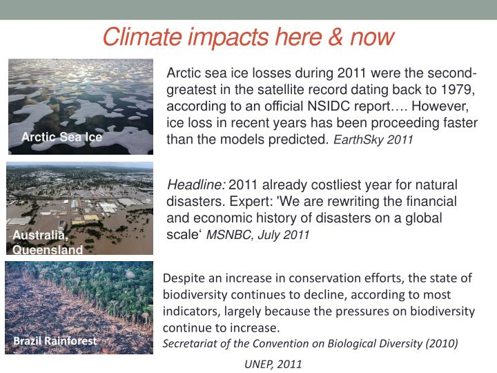 Climate impacts here & now