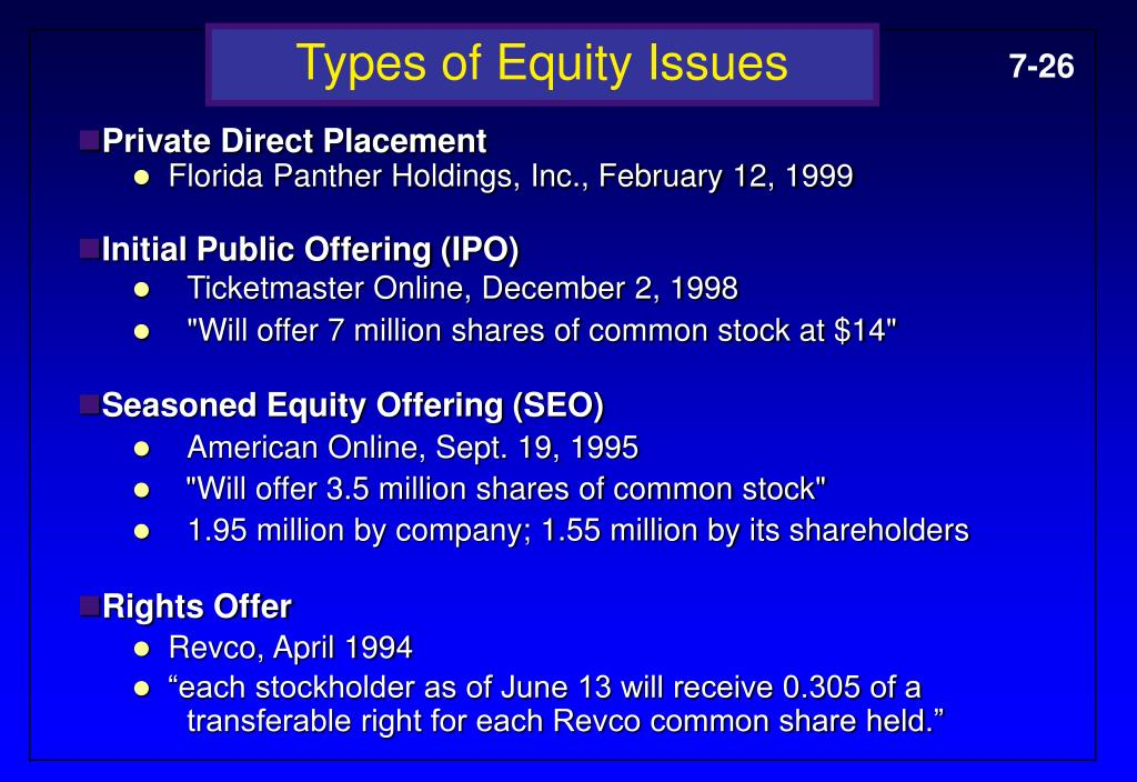 Types of Equity Issues