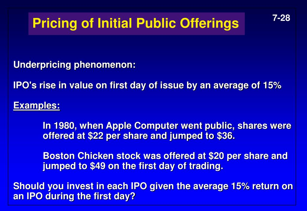 Pricing of Initial Public Offerings
