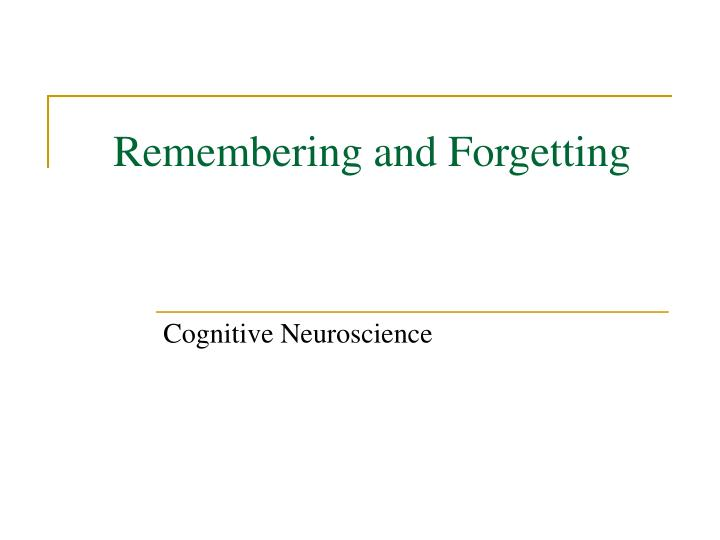 remembering and forgetting n.