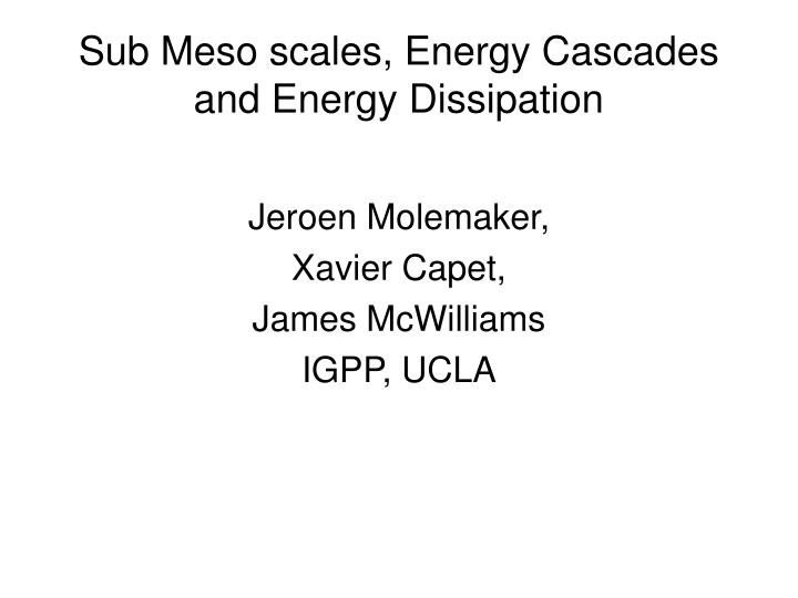 sub meso scales energy cascades and energy dissipation n.