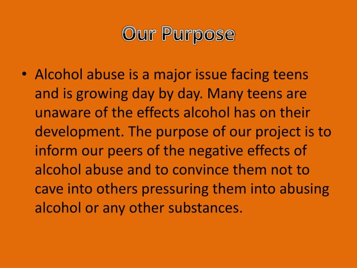 issues regarding teens and alcohol and ramifications of alcohol abuse Substance abuse and mental health issues dealing with drug or alcohol addiction and co-occurring mental health problems when you have both a substance abuse problem and a mental health issue such as depression, bipolar disorder, or anxiety, it is called a co-occurring disorder or dual diagnosis.