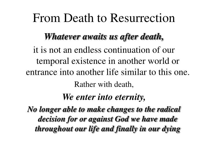 from death to resurrection n.