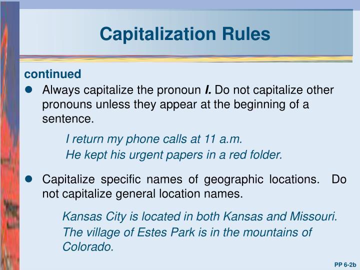 Capitalization rules1