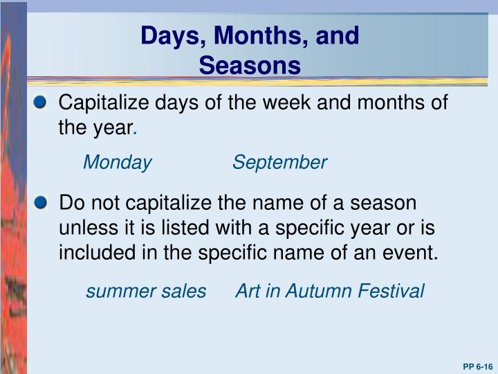 Days, Months, and Seasons