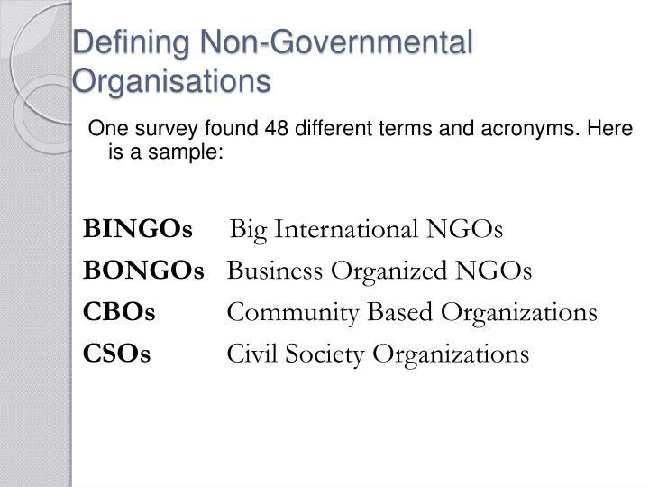 Defining Non-Governmental Organisations