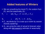 added features of winters