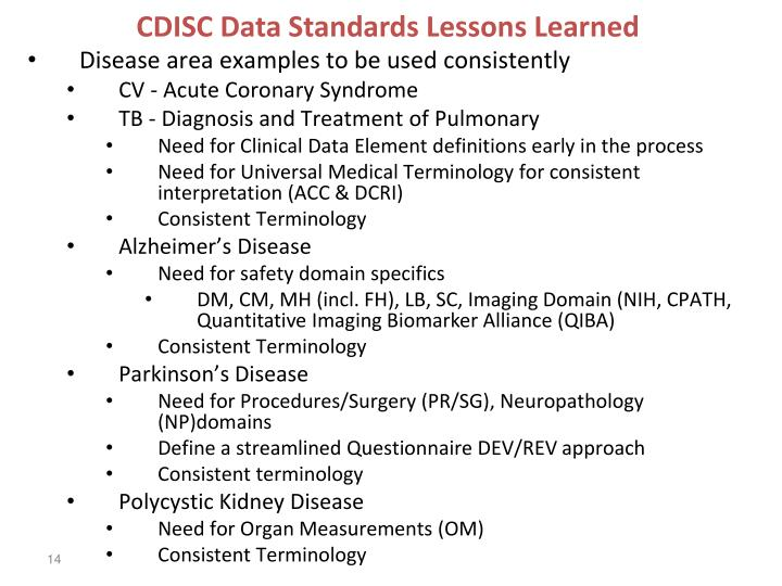 CDISC Data Standards Lessons Learned