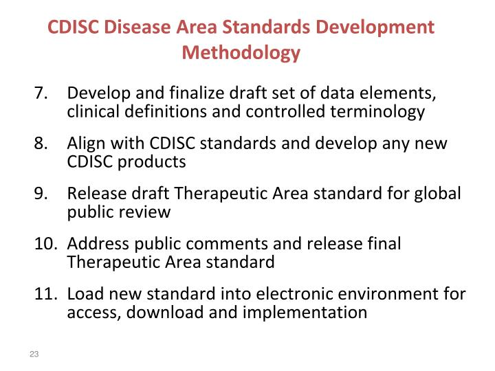 CDISC Disease Area Standards Development