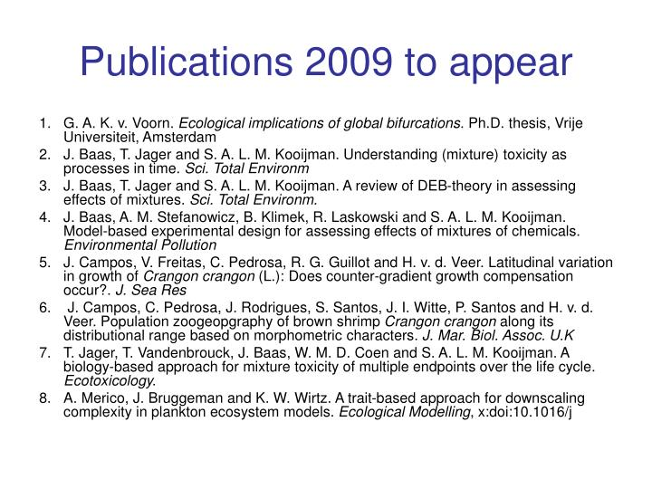 Publications 2009 to appear