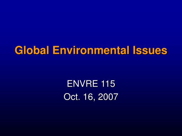 global environmental issues n.