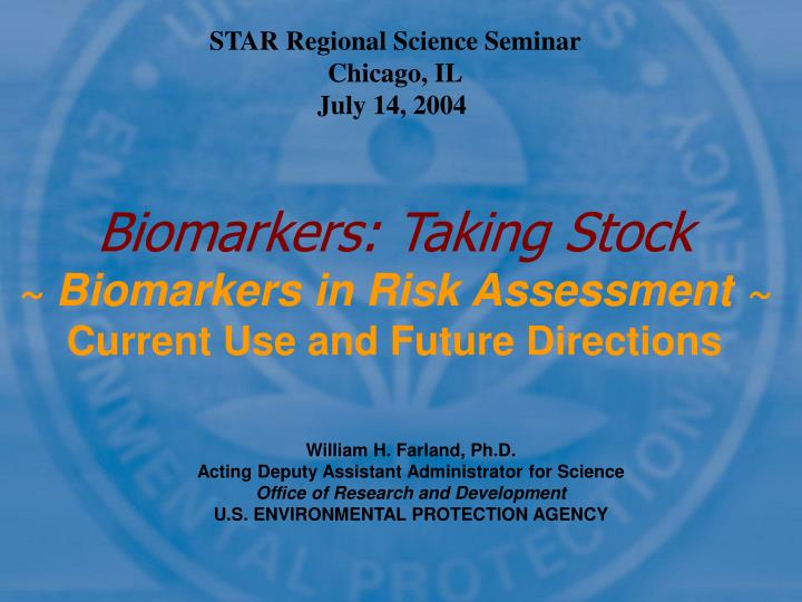 biomarkers taking stock biomarkers in risk assessment current use and future directions n.