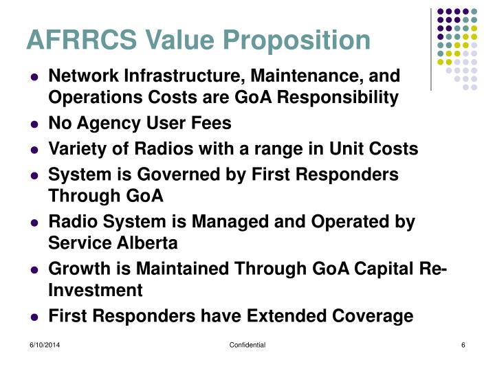 AFRRCS Value Proposition