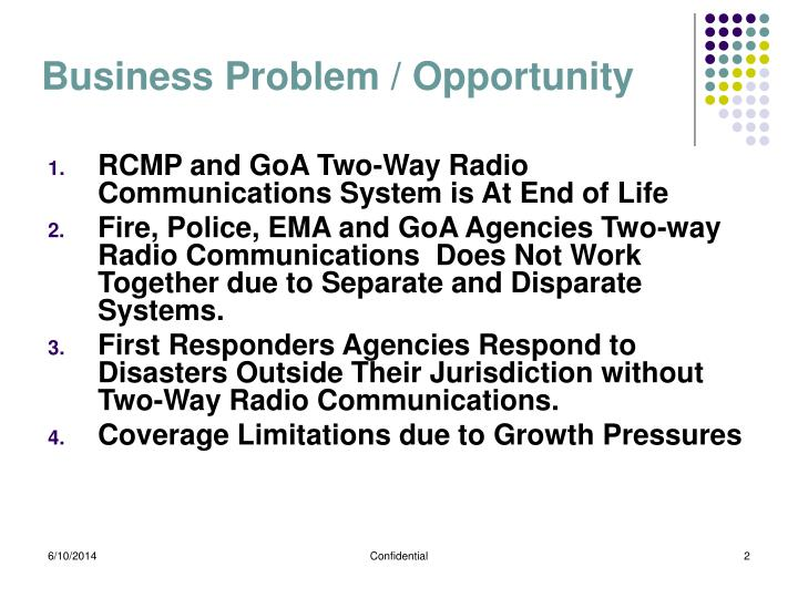 Business problem opportunity