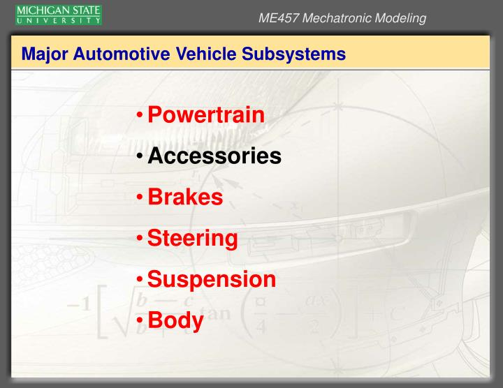 Major automotive vehicle subsystems