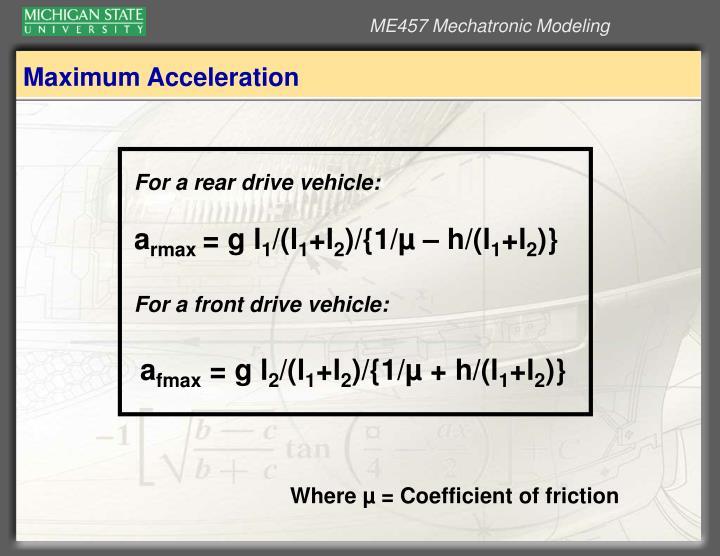 Maximum Acceleration