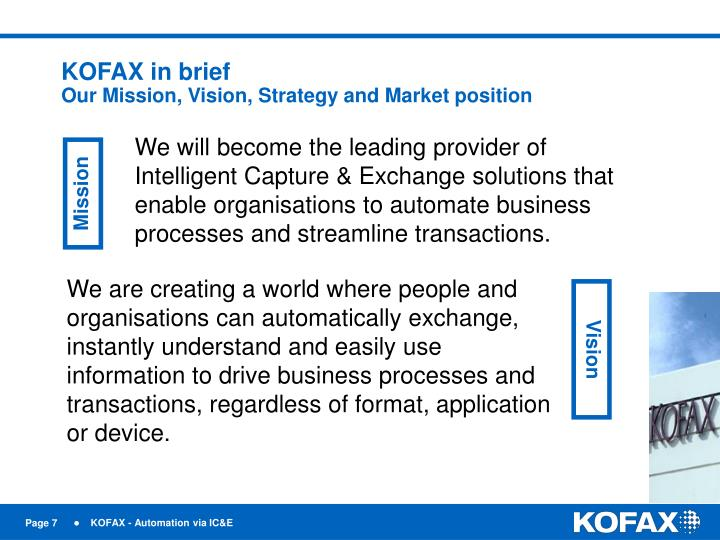 KOFAX in brief