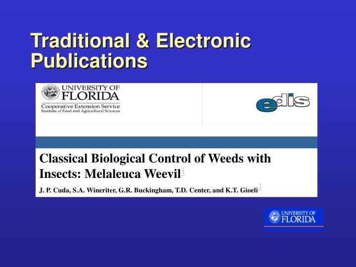 Traditional & Electronic Publications