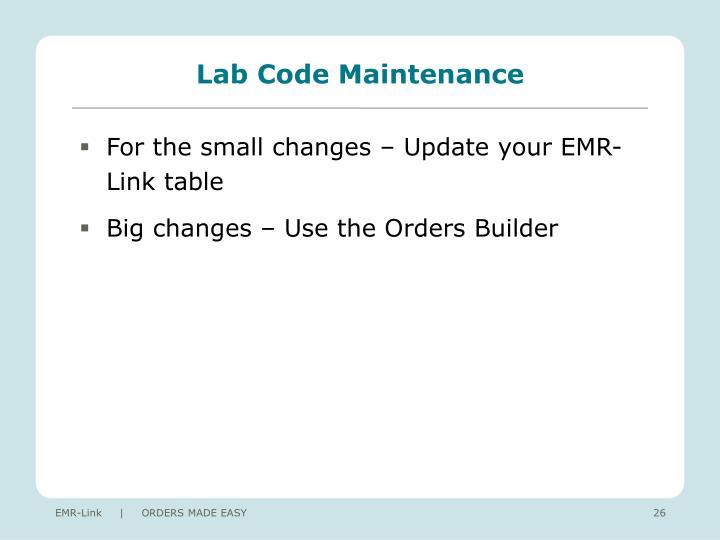 Lab Code Maintenance