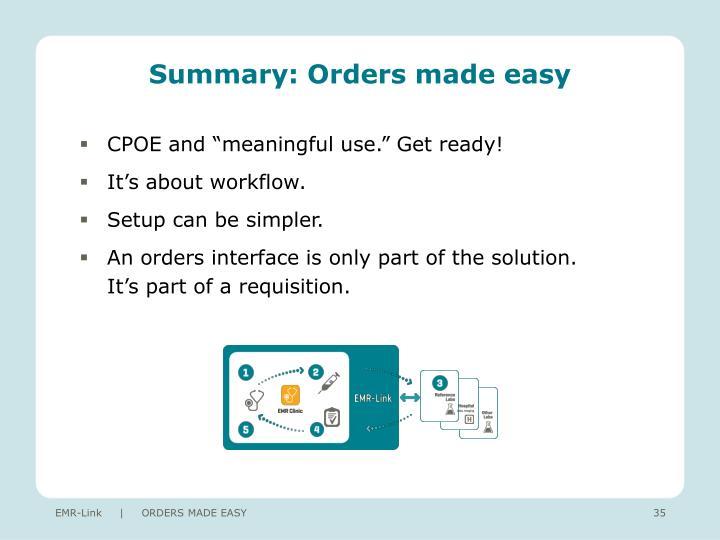Summary: Orders made easy