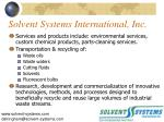 solvent systems international inc1