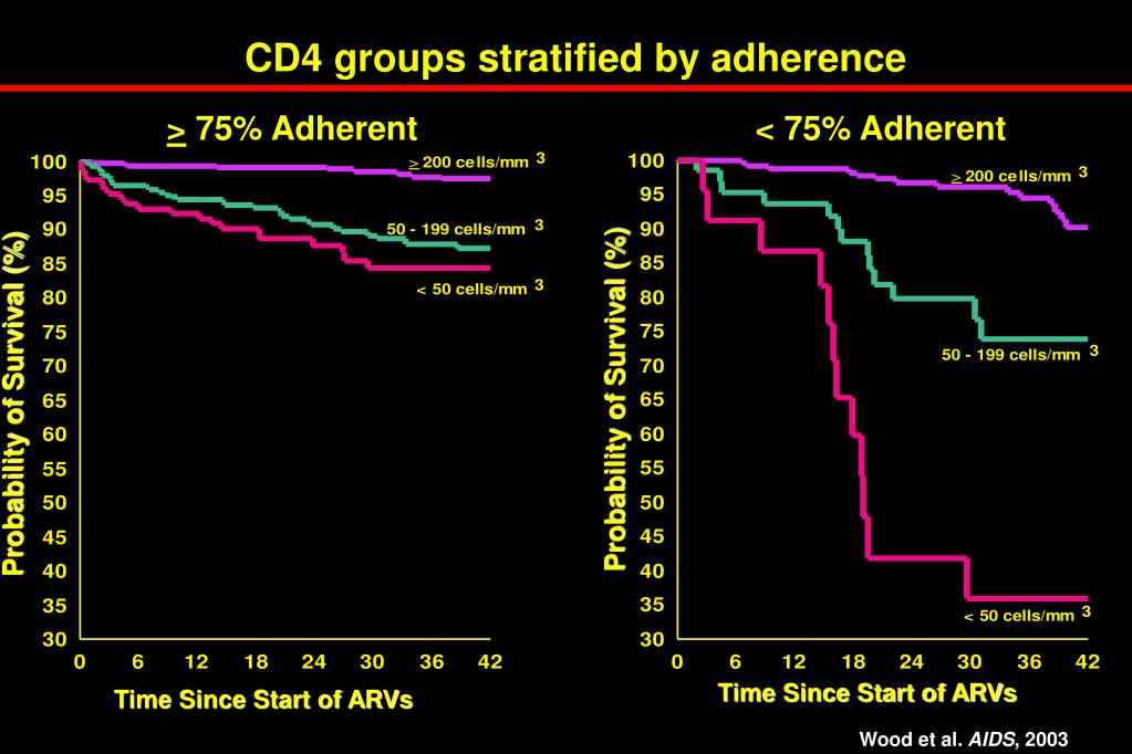 CD4 groups stratified by adherence