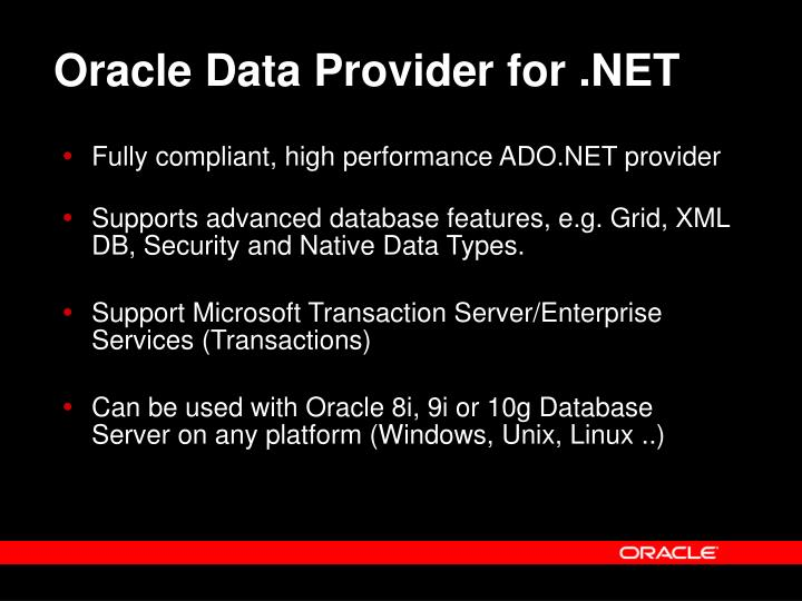 Download oracle data provider for net