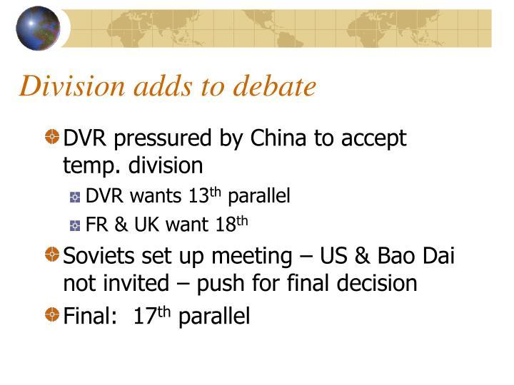 Division adds to debate