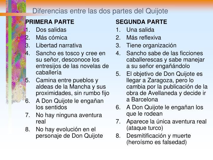 Diferencias entre las dos partes del Quijote