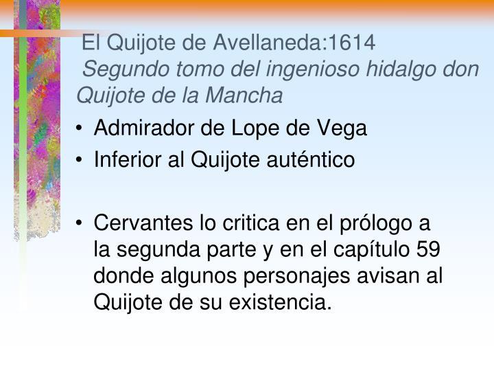 El Quijote de Avellaneda:1614
