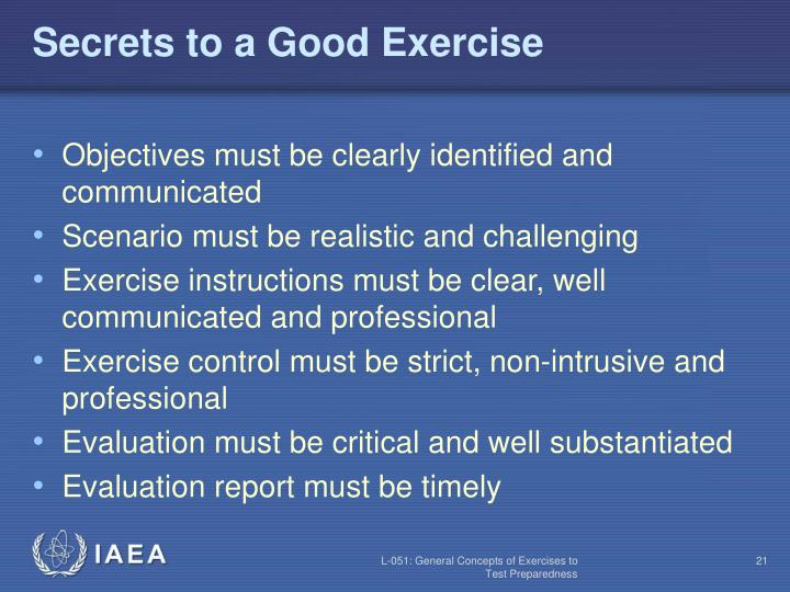 Secrets to a Good Exercise