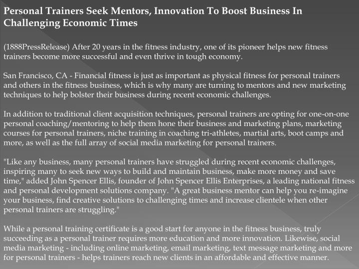 Personal Trainers Seek Mentors, Innovation To Boost Business In Challenging Economic Times