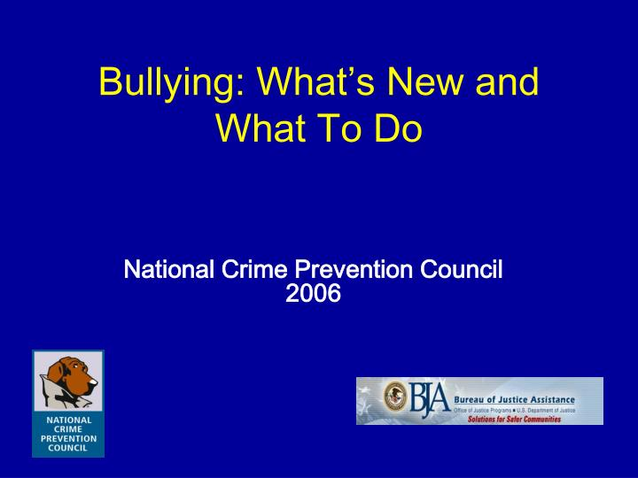 bullying what s new and what to do n.