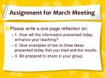 assignment for march meeting