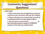 comments suggestions questions