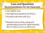 cues and questions recommendations for the classroom