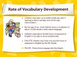 rate of vocabulary development