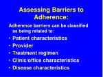assessing barriers to adherence