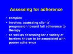 assessing for adherence