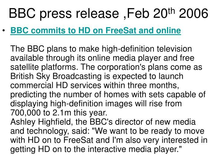 BBC press release ,Feb 20